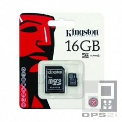 Carte micro SD 16 Go avec adaptateur Kingston