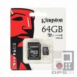 Carte micro SD 64 Go avec adaptateur Kingston